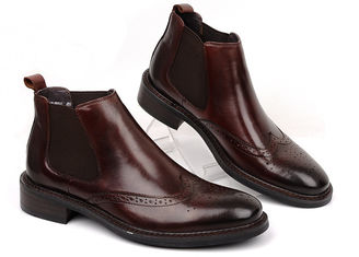 Gaya Baju Mens Leather Dress Boots Brown / Black Flat Ankle Boots Untuk Bisnis